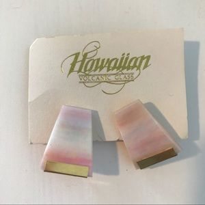 Jewelry - Hawaiian Volcanic Pink Ombre Clip On Earrings NWT
